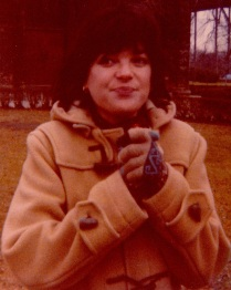 Photo Dad took of Mom, law school, beige toggle coat (close up)